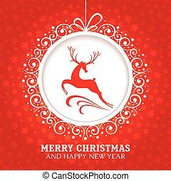 kerstmis, begroetende kaart, met, hertje