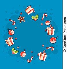 kerstmis, begroetende kaart, met, kadootjes, en, zoetigheden, door, wolk