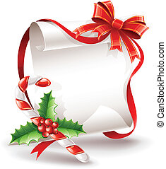 kerstmis, begroetende kaart, met, karamel, stok