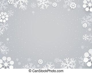 kerstmis, begroetende kaart, met, papier, sneeuwvlok