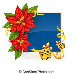 kerstmis, begroetende kaart, met, poinsettia, bloemen, en, goud, jingle klokt