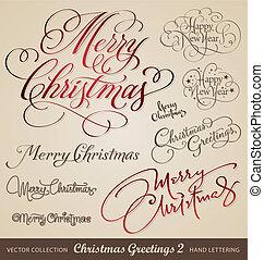 kerstmis, begroetenen, hand, lettering