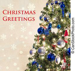 kerstmis, begroetenen, kaart