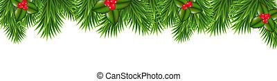 kerstmis, bes, groene, hulst, kader