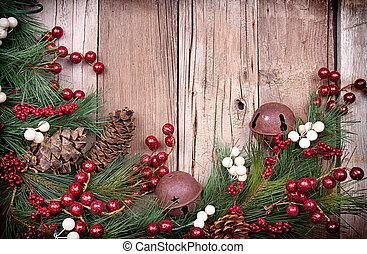 kerstmis, besjes, op, houten, achtergrond