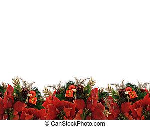 kerstmis, bloemen, grens