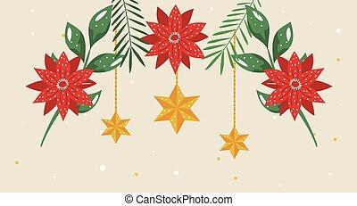 kerstmis, bloemen, sterretjes, hangend