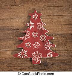 kerstmis boom decoratie, op, houten, achtergrond