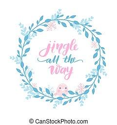 kerstmis, branches., card., bladeren, feestdagen, vector, vrolijk, jaar, nieuw, frame, vrolijke