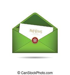 kerstmis, brief, groene, enveloppe