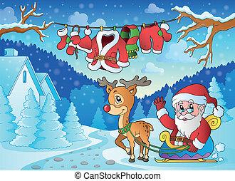 kerstmis, buiten, thema, 2