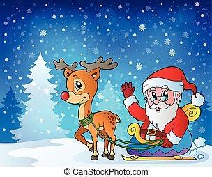 kerstmis, buiten, thema, negen