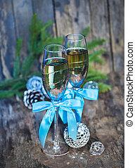 kerstmis, champagne