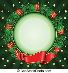 kerstmis, cirkel, frame, van, spar, branc