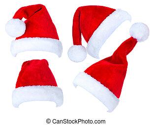 kerstmis, collage, van, rood, santa claus hoeden