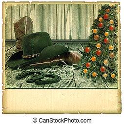 kerstmis, cowboy, achtergrond, kaart, op, oud, papier, voor, tekst