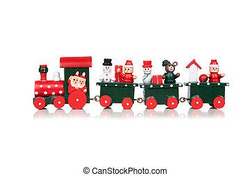 kerstmis, de trein van het stuk speelgoed