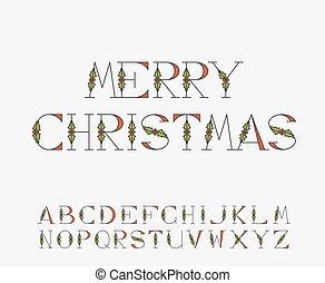kerstmis, decoratief, alfabet