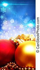 kerstmis, decoraties, met, beauty, bokeh, abstract, achtergronden