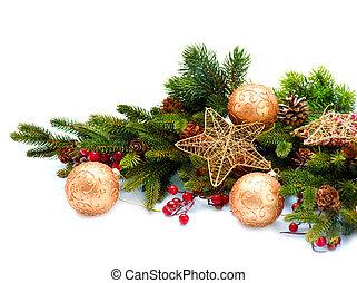 kerstmis, decoration., vakantie decoraties, vrijstaand, op wit