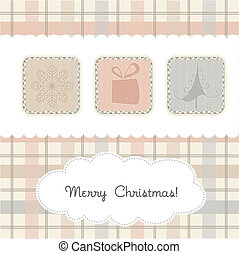 kerstmis, delicaat, kaart, groet