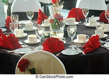 kerstmis, diner, tafel.