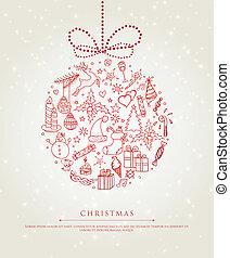 kerstmis, doodle, bal