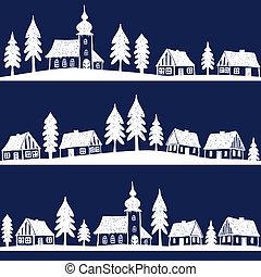 kerstmis, dorp, met, kerk, seamless, model, -, hand,...