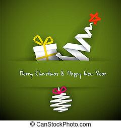 kerstmis, eenvoudig, boompje, cadeau, vector, kaart, bauble...