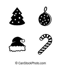 kerstmis., eenvoudig, vector, verwant, iconen