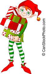 kerstmis, elf, met, kadootjes
