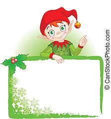 kerstmis, elf, uitnodigen, &, plaats kaart