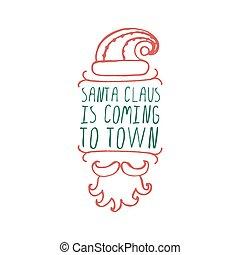 kerstmis, etiket, met, tekst, op wit, achtergrond