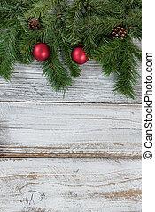 kerstmis, evergreen, takken, en, rood, versieringen