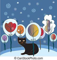 kerstmis, fairytale, bos, kaart, kat