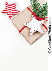 kerstmis, feestdagen, achtergrond, met, feestelijk, decoraties, en, giftdozen, op wit, wooden board, met, de ruimte van het exemplaar, voor, jouw, tekst