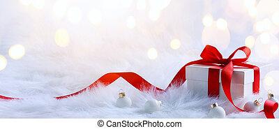 kerstmis, feestdagen, samenstelling, op, licht, achtergrond,...