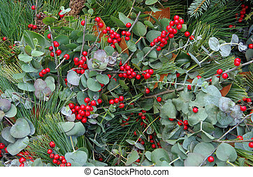 kerstmis, floral, achtergrond