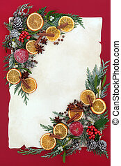 kerstmis, floral rand, met, fruit, en, specerij