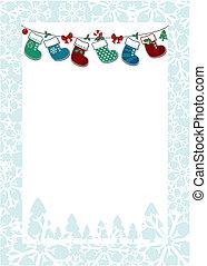 kerstmis, frame, achtergrond