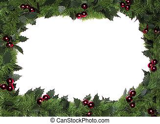 kerstmis, frame, grens