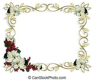 kerstmis, frame, grens, witte , poinse