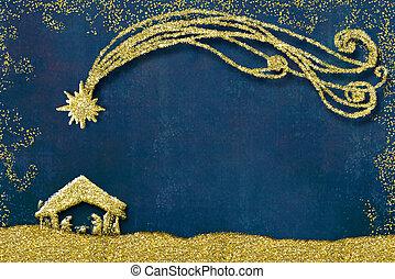 kerstmis geboorte scène, begroetenen kaarten