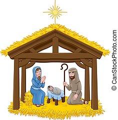 kerstmis geboorte scène, spotprent