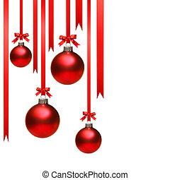kerstmis, gelul, hangend, met, linten, op wit
