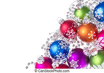 kerstmis, gelul, met, sneeuwvlok, symbolen