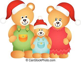kerstmis, gezin, beer, teddy