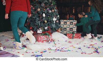 kerstmis, gezin, morgen
