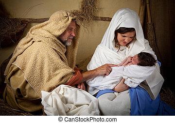 kerstmis, gezin, reenactment