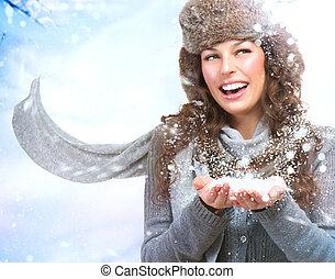 kerstmis, girl., winter, vrouw, blazen, sneeuw